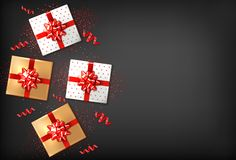 Gift boxes with red bow Vector realistic. Dark background confeti sparkle. Product placement mock up. Design packaging. 3d illustration. Birthday, Wedding vector illustration