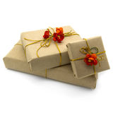 Gift boxes with red flowers Royalty Free Stock Photography