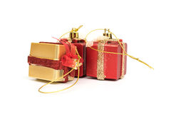 The gift boxes red & gold color on white background. Isolated, Christmas holiday and party decoration Stock Photo