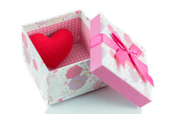 Gift boxes and red heart isolate Stock Photography
