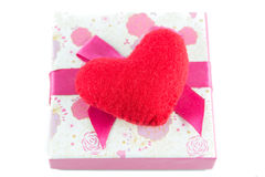 Gift boxes and red heart isolate Royalty Free Stock Image
