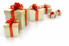 Gift boxes red. An image of some nice gift boxes with a red ribbon Royalty Free Stock Photography