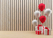 Gift boxes with red and white balloons for festival and celebration in 3D render image. The set of gift boxes with red and white balloons for festival and Stock Photos