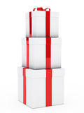 Gift boxes red white stack Stock Photos