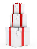 Gift boxes red white stack Stock Images