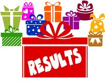 Gift boxes with RESULTS text. Illustration image concept Stock Photo