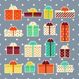 Gift boxes retro stickers. Set of colorful presents. Vector illu. Gift boxes retro stickers in flat design. Wrapped presents with bows and ribbons. Vector. Set Royalty Free Stock Photos