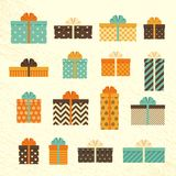 Gift boxes in retro style. Set vintage presents. Vector   Stock Photos