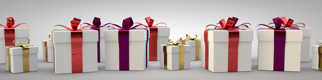 Gift boxes with ribbon bow 3d illustration rendering Royalty Free Stock Photos