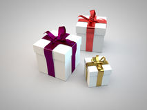 Gift boxes with ribbon bow 3d illustration rendering Royalty Free Stock Images