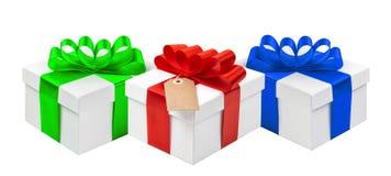 Gift boxes ribbon bow decoration isolated white background Royalty Free Stock Photo