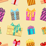 Gift boxes with ribbon bows seamless pattern Royalty Free Stock Images