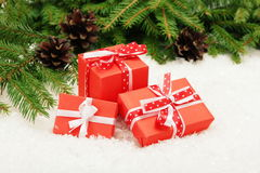 Gift boxes with ribbon bows Royalty Free Stock Photography