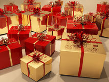 Gift boxes with  ribbon and decoration Stock Photos