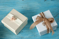 Gift boxes with ribbon Royalty Free Stock Images