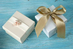 Gift boxes with ribbon Royalty Free Stock Photography