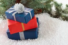 Gift boxes with ribbon in snow under pine tree Stock Photo