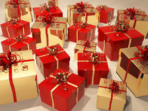 Gift boxes with  ribbon and wrapping Royalty Free Stock Photography