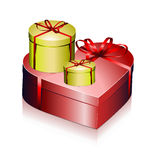 Gift boxes with ribbons. Illustration of different shaped gift boxes and presents for holidays and valentine day Royalty Free Stock Photos