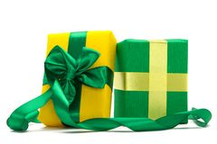 Gift boxes with ribbons Royalty Free Stock Photos