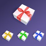 Gift boxes with ribbons and bows in different Stock Photo