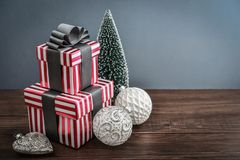 Gift boxes with ribbons Royalty Free Stock Photography