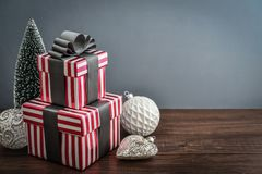 Gift boxes with ribbons Royalty Free Stock Images