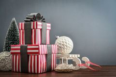 Gift boxes with ribbons Royalty Free Stock Photo