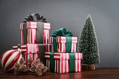 Gift boxes with ribbons Stock Photography