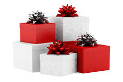Gift boxes with ribbons isolated on white Stock Image
