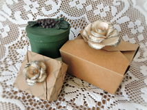 Gift boxes and ribbons Royalty Free Stock Photos