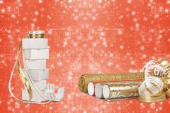 Gift boxes and rolls of wrapping paper Stock Photo
