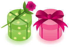 Gift boxes with a rose Royalty Free Stock Images