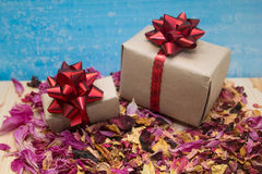 Gift boxes with rose petals royalty free stock images