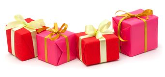 Gift boxes with satin ribbons isolated Stock Photo