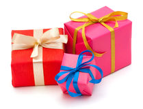 Gift boxes with satin ribbons isolated Stock Photos
