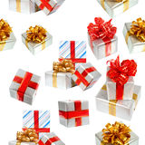 Gift boxes seamless background Royalty Free Stock Photography