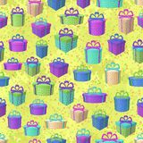 Gift Boxes, Seamless Background. Holiday Seamless Pattern, Festive Colorful Gift Boxes on Abstract Tile Background. Vector Stock Photography