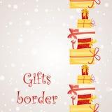 Gift boxes seamless border. Stock Photography