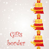 Gift boxes seamless border Stock Images