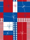 Gift boxes - seamless pattern. Gift boxes in patriotic colors Stock Photography