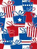 Gift boxes - seamless pattern. Gift boxes in patriotic colors Royalty Free Stock Images