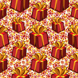 Gift boxes seamless pattern. Holiday  background Stock Photography