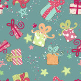 Gift Boxes Seamless pattern. In Blue Royalty Free Stock Photos