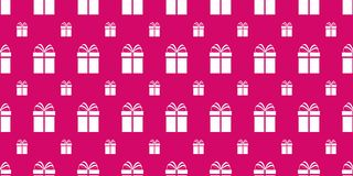 Gift boxes seamless pattern. Bright pink holidays background. Simple flat present icon. Repeat texture. Vector royalty free illustration