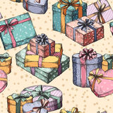 Gift boxes seamless pattern Stock Photography