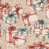 Gift boxes seamless pattern Royalty Free Stock Image