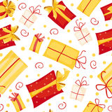 Gift boxes seamless pattern. Holiday background. Vector illustration Royalty Free Stock Photos