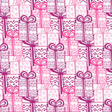 Gift boxes seamless pattern. Seamless happy birthday or ceebration background. Stock Images
