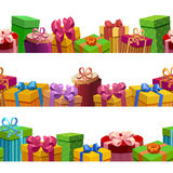 Gift Boxes Seamless Patterns Set Royalty Free Stock Photo
